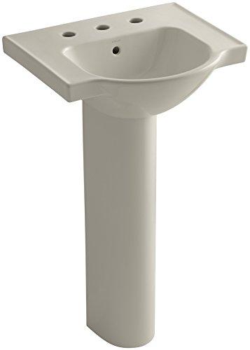 8 G9 Pedestal (KOHLER K-5265-8-G9 Veer Pedestal Bathroom Sink with 8-Inch Widespread Faucet Holes, 21-Inch, Sandbar)