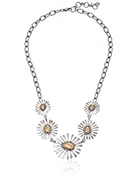 """Lucky Brand Women's Floral Collar Necklace Two-Tone Chain Necklace 20"""" + 2' Extender"""