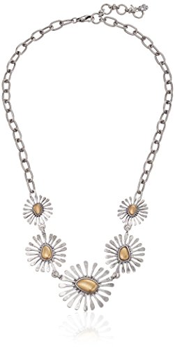 Lucky Brand Women's Floral Collar Necklace Two-Tone Chain Necklace 20