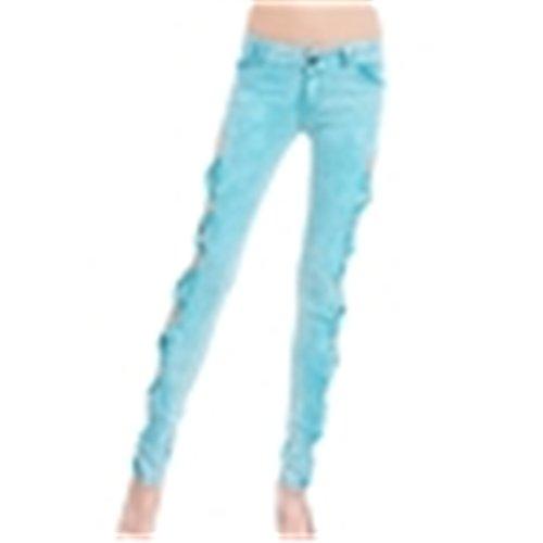 Crayon Femme Stretch Taille Trou Jeans Slim Jeans Chic Color Skinny avec Basse Bleu Creux Pantalon Bowknot 4qUwdzRa