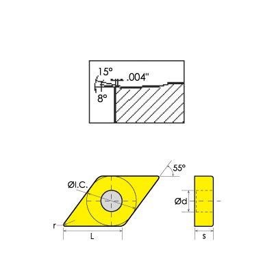 HHIP 6000-7431 DNMG/DF 55 Degree Diamond-Negative Rake Carbide Insert, 0.0157'' Nose Radius, 39/64'' Length