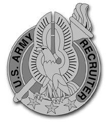 Military Vet Shop US Army Recruiter Gray Badge Vinyl Transfer Window Bumper Sticker Decal 3.8