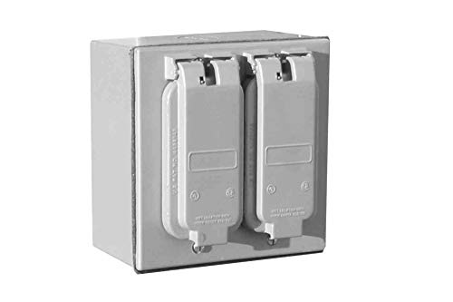 GFCI Duplex Receptacle Box with Waterproof Hinge Covers - 120V - Two 5-20R Duplex GFCI -