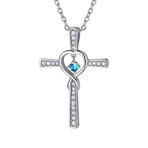 Birthstone Cross Necklace December Sterling Silver Topaz CZ Love Heart Infinity Necklace Gift for Women/Girls (Necklace Zirconia Girls)