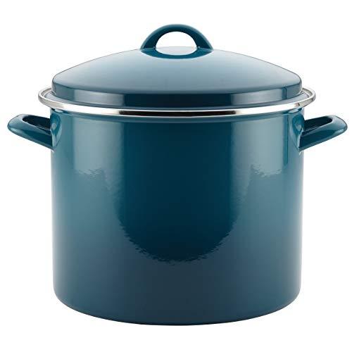 (Rachael Ray Enamel on Steel 12-Quart Covered Stockpot, Marine Blue)