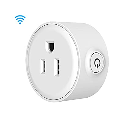 Smart WiFi Plug in Wall Remote Control Wireless Socket Timer with ON/OFF Switch for Light Electrical Appliance and Smartphone (Android 4.1 / iOS 8.0 Above) - White