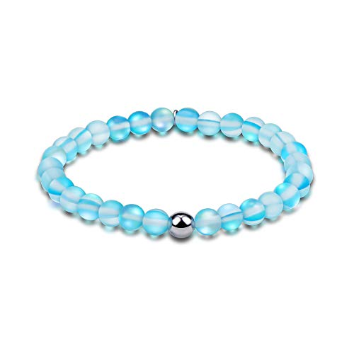 Townshine 6mm Round Moonstone Beaded Bracelet Stretch Mermaid Glass Bracelet for Women Girls,Couples Beaded Glass Bracelet (Greenish-Blue)