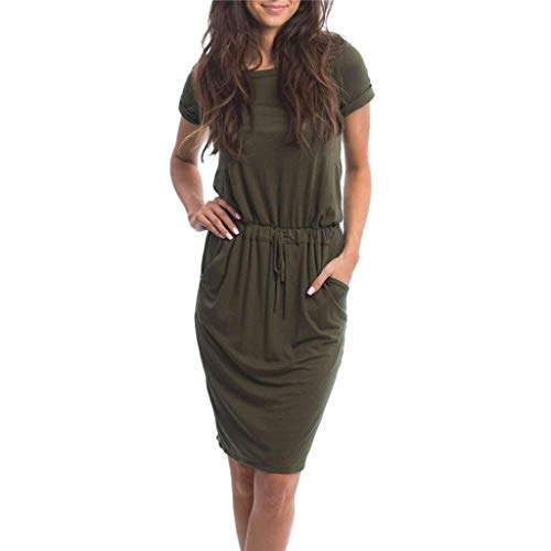 (Women's Elegant Summer Casual Lace-up Solid Dresses Short Sleeve Swing Bodycon Dress with Drawstring Army Green)