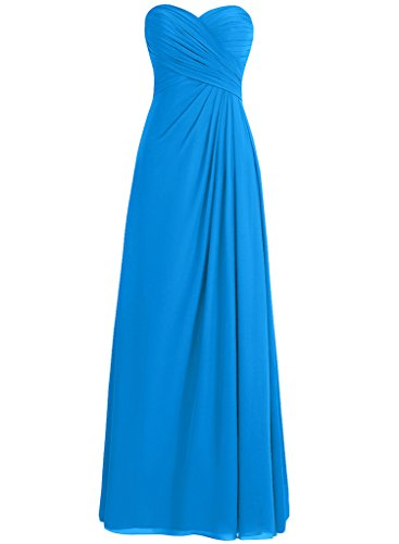 (H.S.D Adult Slack Pleated Decoration Wedding Guest Dress Ocean Blue)