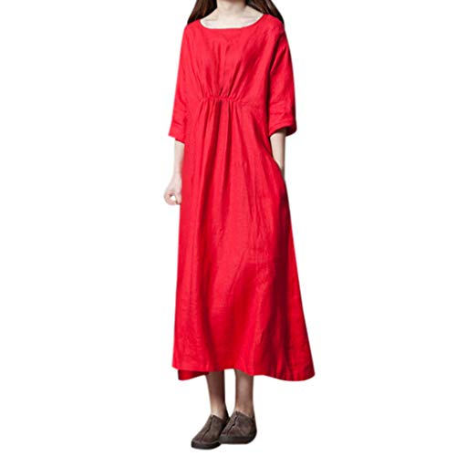 Shirred Cowl Neck - Women Cotton Linen Three Quarter a-Line Dress, Ruched Shirred Front Round Neck Plain Dress Summer Casual Loose Dress(Red, XXL)