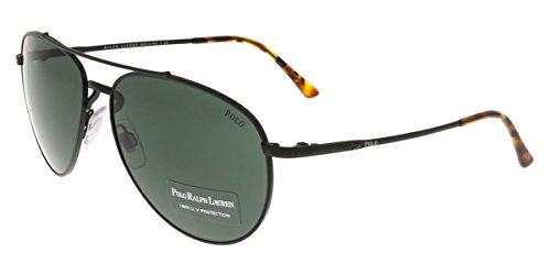 Polo Ralph Lauren Men's 0PH3094 Aviator Sunglasses, Demi Shiny Black, 59 mm (Sunglasses Ralph Lauren Polo)