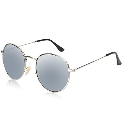 45bc214a2c SojoS Small Round Polarized Sunglasses Mirrored Lens Unisex Glasses SJ1014  3447 With Silver Frame Silver