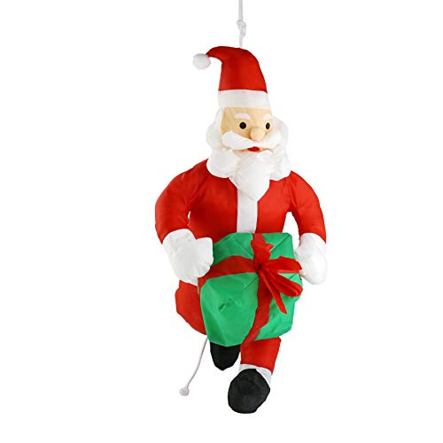 Athoinsu 35'' Stuffed Hanging Santa Claus with Gift Box Climbing On Rope Christmas Tree Indoor Outdoor Holiday Ornament Xmas Party Home Door Fireplace Decoration(Style 3) ()