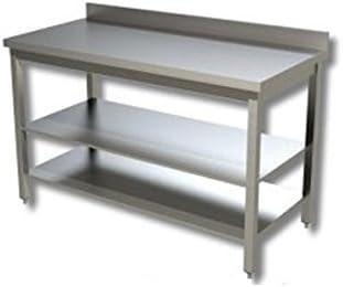 Mesa de acero inoxidable con 2 estantes y con alzatina Dim. cm 170 x 60 x 85h: Amazon.es: Hogar