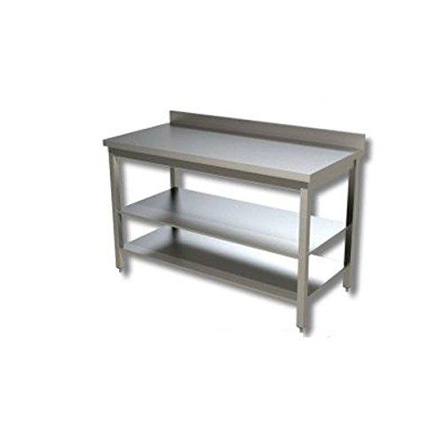 Mesa de acero inoxidable con 2 estantes y con alzatina Dim. cm 160 ...