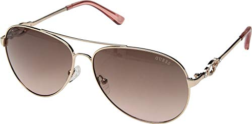 Gold Guess Sunglasses - GUESS Women's GF6064 Shiny Rose Gold/Brown To Pink Gradient Lens One Size