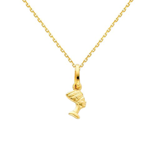 (GM Fine Jewelry 14k Yellow Gold Queen Nefertiti Charm Pendant with 0.9mm Oval Angled Cut Rolo Cable Chain Necklace - 18