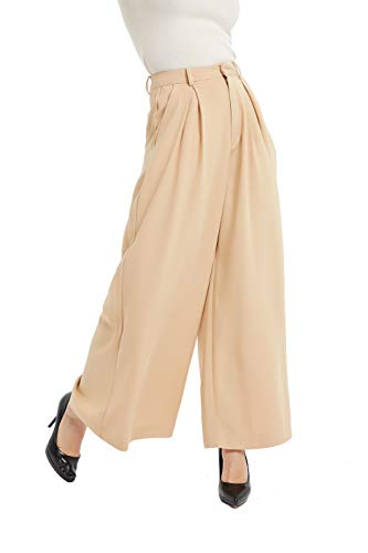 (Tronjori Women High Waist Casual Wide Leg Long Palazzo Pants Trousers(M, Sand) )