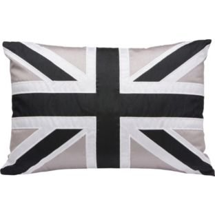 Union Jack Cushion - 50x35cm - Black and Grey.
