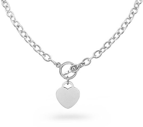 Designer Inspired HEART CHARM Stainless Steel Silver Link Chain NECKLACE Toggle Lock