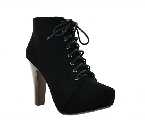 DREAM PAIRS VINCE-55 Puffin Lace Up Chunky High Heel Platform Booties
