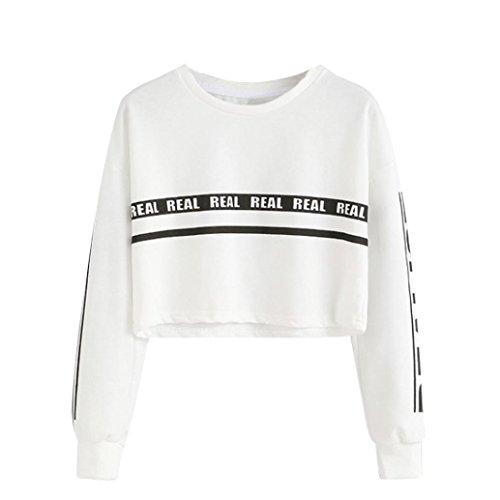 (TOPUNDER Women Fashion White Blouse Letter Print Crop Sweatshirt Top by)