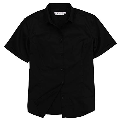 Urban Boundaries Womens Basic Tailored Short Sleeve Cotton Button Down Shirt (Black, X-Large) ()