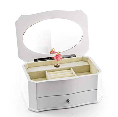 Enchanted Evening Jewelry - Spacious Matte White 18 Note Ballerina Musical Jewelry Box with Mirror - Over 400 Song Choices - Some Enchanted Evening