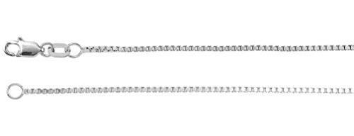 1mm 14k White Gold Box Chain, 24'' by Jewelry Store