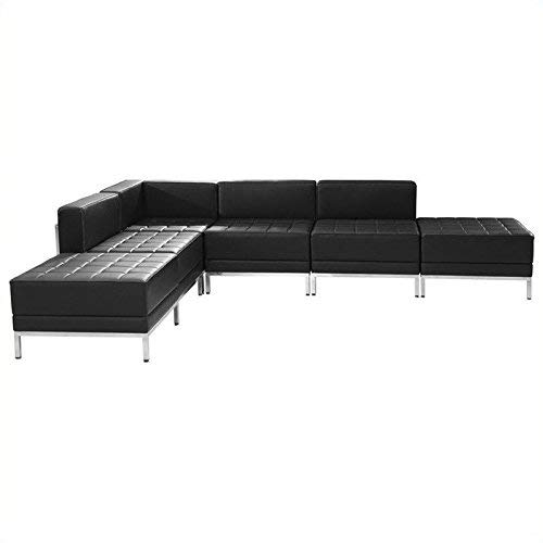 (Flash Furniture HERCULES Imagination Series Black Leather Sectional Configuration, 6 Pieces)