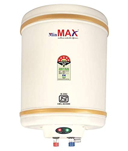 MINMAX ECO-EG 2000 WATTS 10 Liter Storage Geyser|| 3 Years Warranty|| Vertical Shape Water Heater|| ISI Approved||Storage Heating of Water