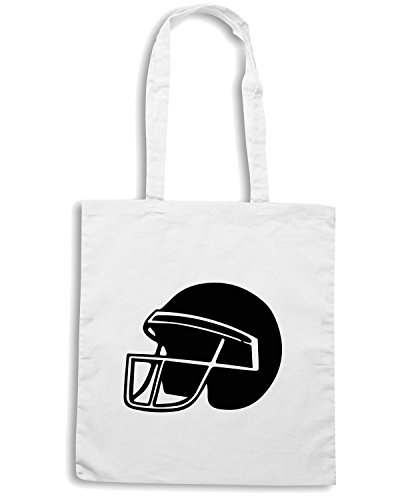 T-Shirtshock - Bolsa para la compra WC1014 American Football Helmet Maglietta2 Blanco
