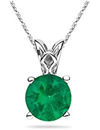 0.36-0.79 Cts of 5.5 mm AA Round Natural Emerald Scroll Solitaire Pendant in Platinum
