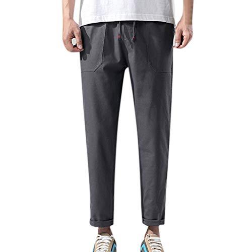 yoyorule Casual Pants Men's Fashion Summer Casual Solid Pocket Drawstring Cotton Linen Long Pants