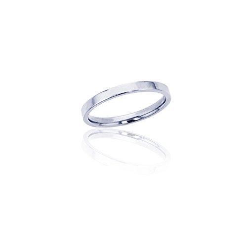 Decadence Unisex 14K White Gold 2mm Polished Flat Comfort Feel Plain Wedding Band, 5 10k White Gold Flat Band