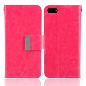 Genuine Leather Flip Protective TPU Case with Card Slots for iPhone 5S Rose