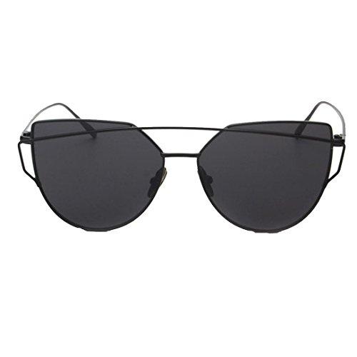 Forthery Cat Eye Mirrored Flat Lenses Classic Metal Frame Women Sunglasses - Hut Frames Sunglass