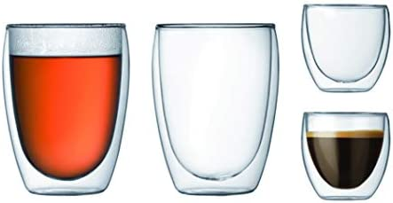 Bodum K4557-10 Wall Glass Set 4 Verres, Double paroi, 0.08l et 0.35l, Transparent
