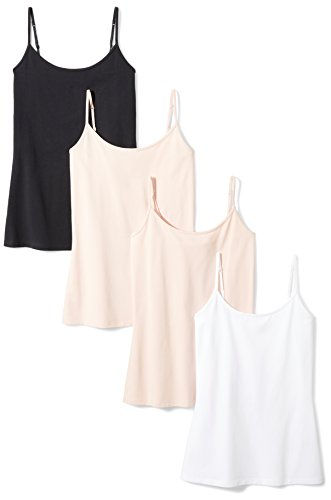 Amazon Essentials Women's 4-Pack Camisole, Beige/Beige/White/Black, X-Large