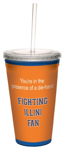 Acrylic Fighting Illini Football (Tree-Free Greetings cc34456 Fighting Illini College Football Fan Artful Traveler Double-Walled Cool Cup with Reusable Straw, 16-Ounce)