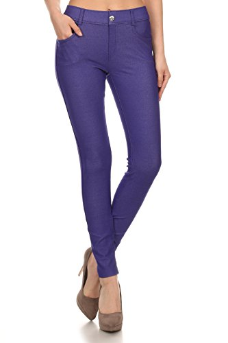 ICONOFLASH Women's Jeggings - Pull On Slimming Cotton Jean Like Leggings (Royal Purple, - Stretch Purple Pants