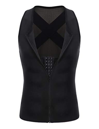 FeelinGirl Men Waist Trainer Vest Hot Sauna Sweat Suits Corset Body Shaper Back Braces Tank Top Shirt ()