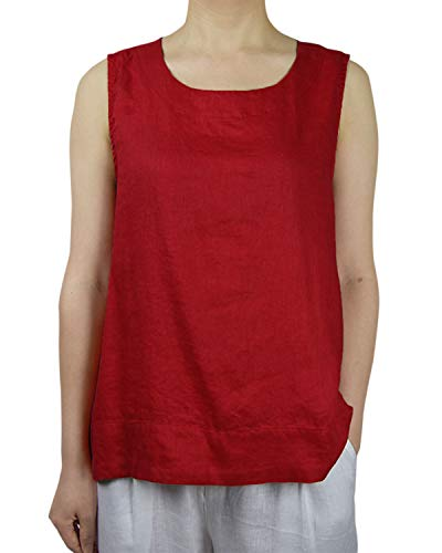 IXIMO Women's 100% Linen High Low A-Line Tank Tops Sleeveless Summer Shirts Casual Blouses Red