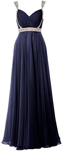 Neck Evening Elegant Dress Dunkelmarine MACloth Long V Prom Straps Formal Chiffon 2018 Gown q4cZtAw