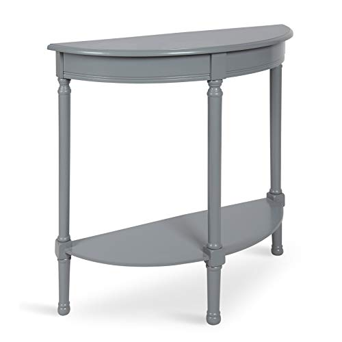 Kate and Laurel Wyndmoore Half Moon Wood Console Table with Lower Shelf, Gray