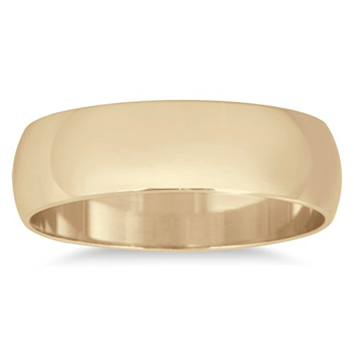Yellow Gold Domed Wedding Band - 5mm Domed Wedding Band in 10K Yellow Gold