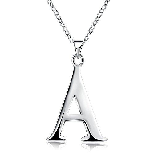 Initial Pendant Necklace 26 Letters Alphabet Personalized Charm Necklace Pendant (A)