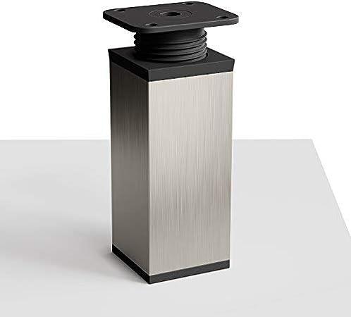 +20mm H/öhe: 80mm Design-M/öbelf/ü/ße Doppelpack | Material: Aluminium//Kunststoff 8 St/ück h/öhenverstellbar Vierkant-Profil: 40 x 40 mm Sossai/® MFV1-IX 2 x 4er Set Farbe: Inox