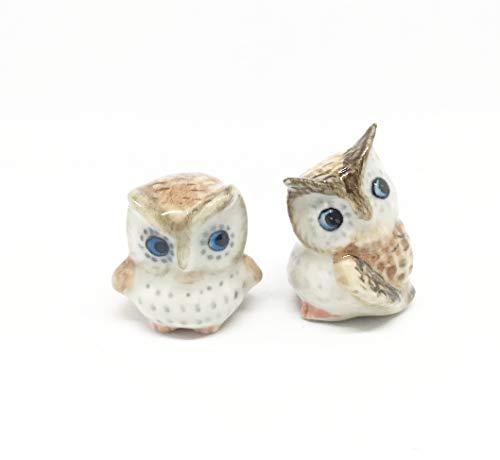 Studio one Handmade Animal Figurine Ceramic Brown Owl Collection Best Gift Set 2 pcs - Musician Ceramic Figurine