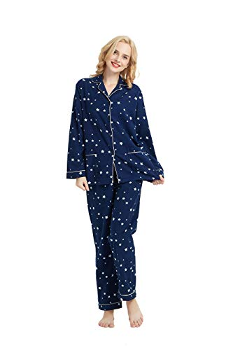Cotton Pjs for Women, Long Sleeve Pajamas with Button Down Top and Drawstring Sleep Pants - Flannel Pajamas Pjs